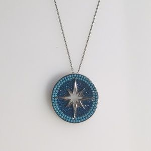 925 Sterling Silver Micro Turquoise Star Necklace